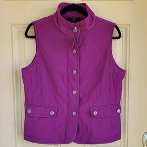NWT Talbots Petite Button Up Quilted Vest
